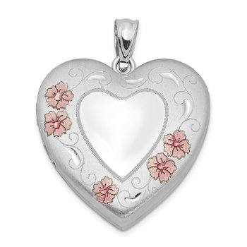Sterling Silver Rhodium-plated 24mm Enameled Floral Border Heart Locket