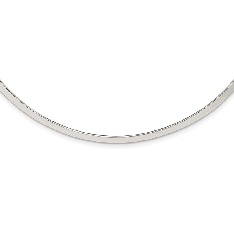 Quality Gold Sterling Silver Polished 4mm Neck Collar