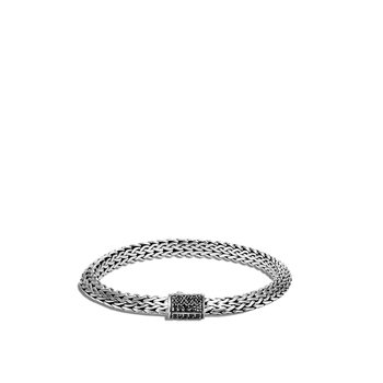 Tiga Classic Chain 6.5MM Bracelet in Silver with Gemstone