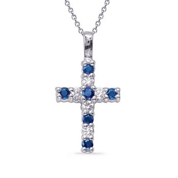White Gold Sapphire & Diamond Cross