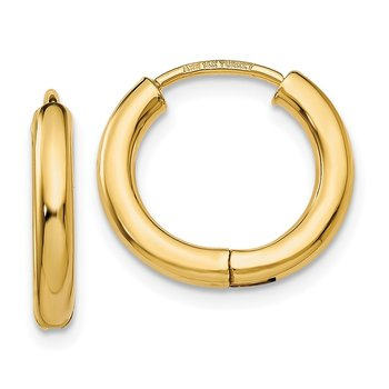 14k Polished Hollow Hoop Earrings