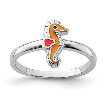 Sterling Silver Rhodium-plated Childs Enameled Seahorse Ring