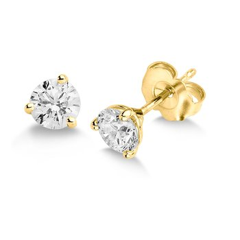 Three Prong Diamond Studs in 14k Yellow Gold Screw-back posts (3/4ct. tw.)