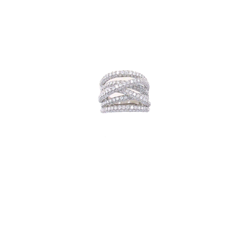 18KT GOLD DIAMOND CROSSOVER RING