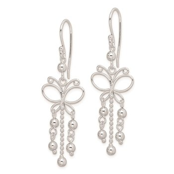 Sterling Silver Rhodium Plated Butterfly Dangle Earrings