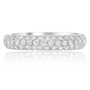 Triple Pave White Diamond Band
