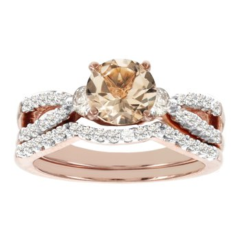 14k Rose Gold 1/2ct TDW Diamondand Morganite Bridal Set