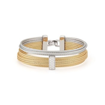 Grey & Yellow Cable Large 2 Row Simple Stack Bracelet with 18kt White Gold & Diamonds