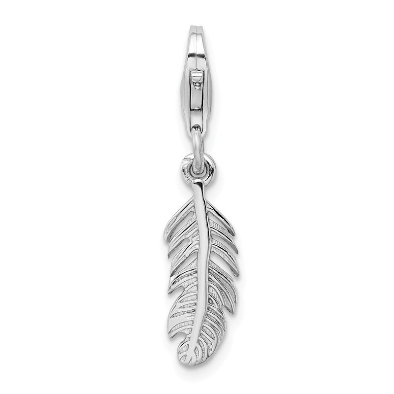 Quality Gold Sterling Silver Polished Feather with Lobster Clasp Charm
