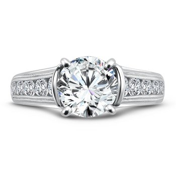 Grand Opulance Collection Diamond Engagement Ring With Channel Set Side Stones in 14K White Gold with Platinum Head (2ct. tw.)