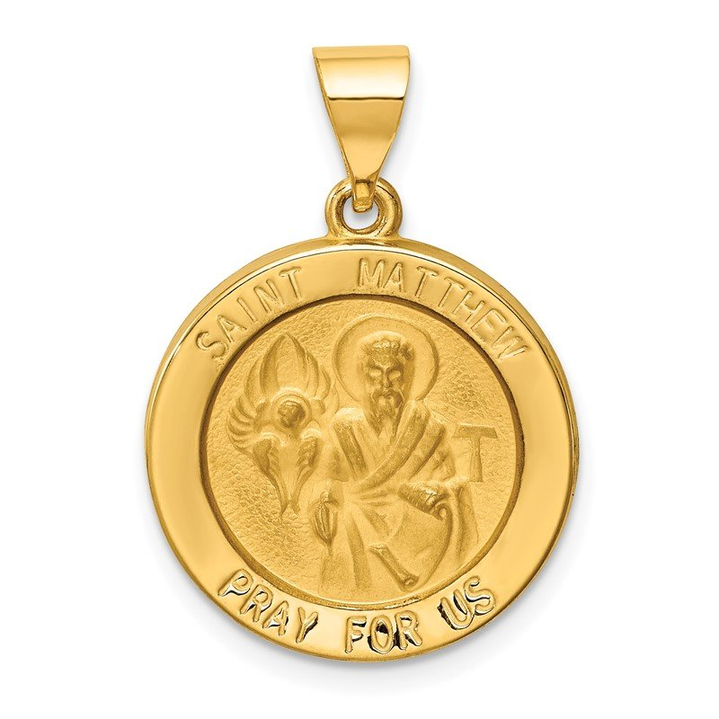 Quality Gold 14k Polished and Satin St Matthew Medal Hollow Pendant