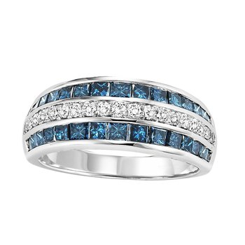14K Blue & White Diamond Band 1 1/2 ctw