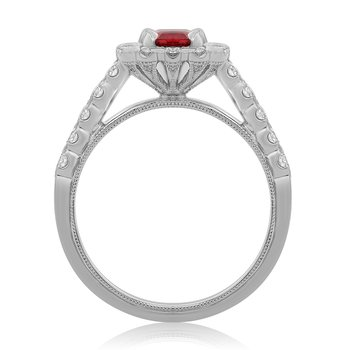 One Carat Ruby Milgrain Ring