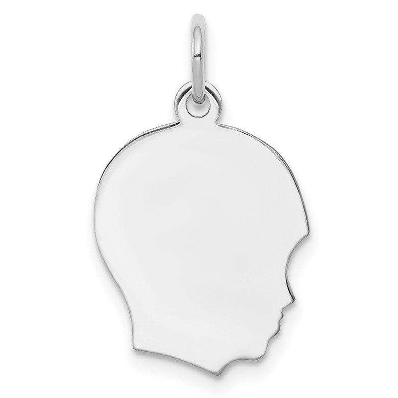 Arizona Diamond Center Collection Sterling Silver Rh-plt Engraveable Boy Disc Charm Polish on Front/Back
