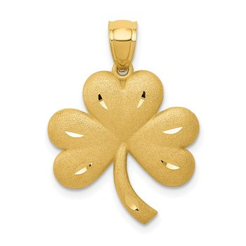 14k Brushed Diamond-cut Shamrock Pendant