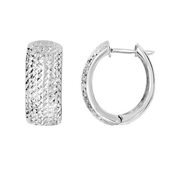 Silver 18x10mm Diamond Cut Huggie Earring