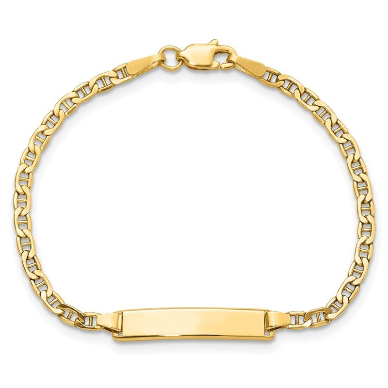 Quality Gold 14k Semi-Solid Polished Anchor ID Bracelet