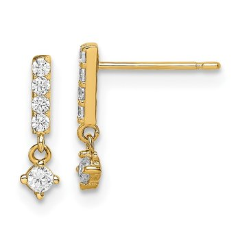 14k Madi K Bar with Dangle CZ Post Earrings