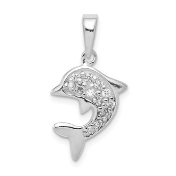 Sterling Silver with CZ Dolphin Pendant