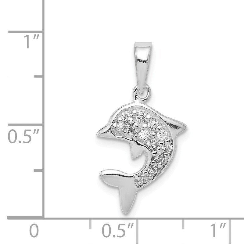 Quality Gold Sterling Silver with CZ Dolphin Pendant