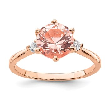 Sterling Silver Rose Gold-plated Pink Crystal and White CZ Ring