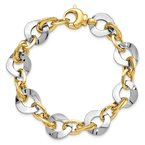 Quality Gold 14k Two-tone Polished Fancy Link Bracelet