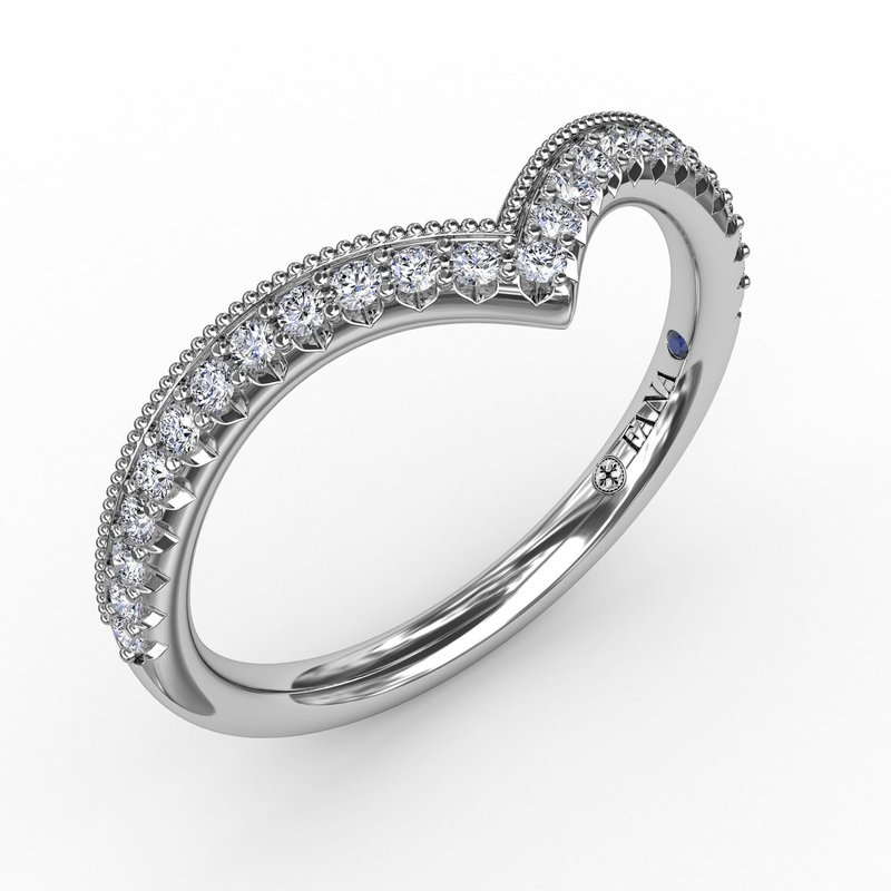 French Pave Chevron Diamond Band with Milgrain Edging
