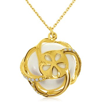 14k Yellow Gold Caged Pearl and Diamond Pendant