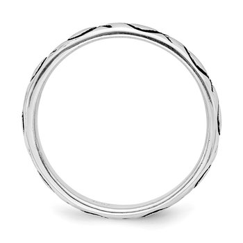 Sterling Silver Rhodium-plated Polished Antiqued Ichthus Ring