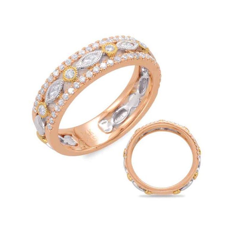 Briana White & Rose & Yellow Gold Wedding Band