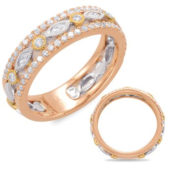 White & Rose & Yellow Gold Wedding Band