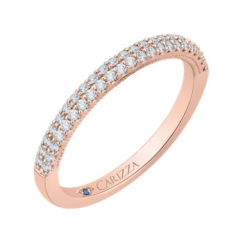 14K Rose Gold Round Diamond Wedding Band