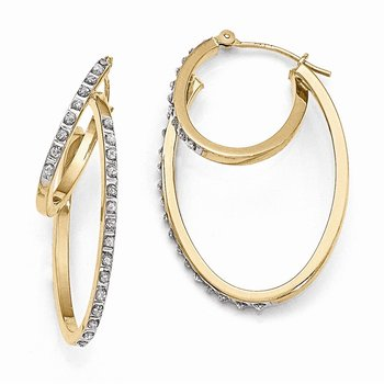 14k Diamond Fascination Hinged Double Hoop Earrings