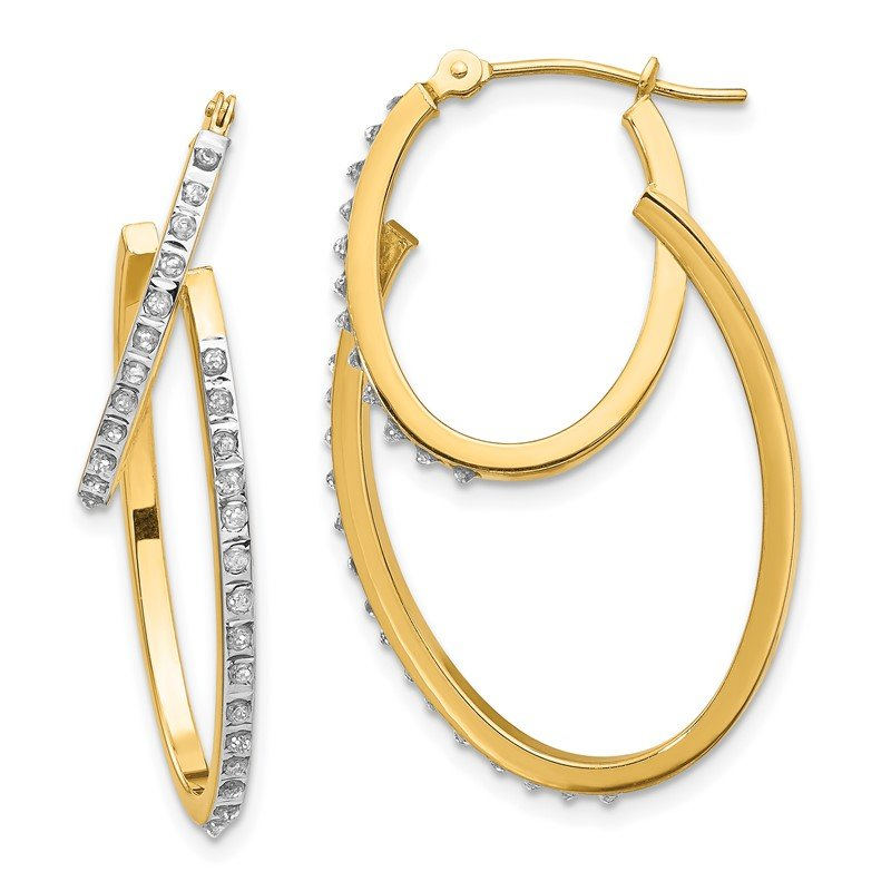 Quality Gold 14k Diamond Fascination Hinged Double Hoop Earrings