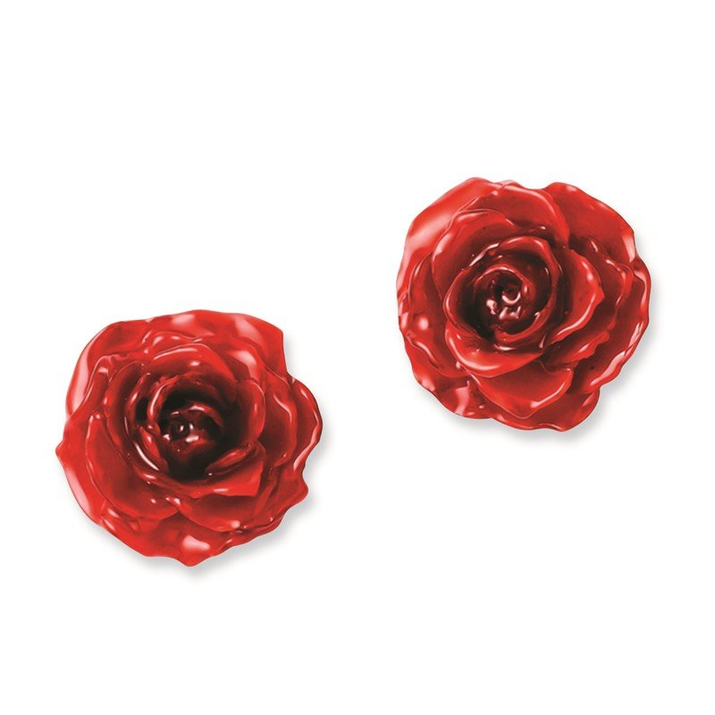 Quality Gold Lacquer Dipped Red Rose Post Earrings