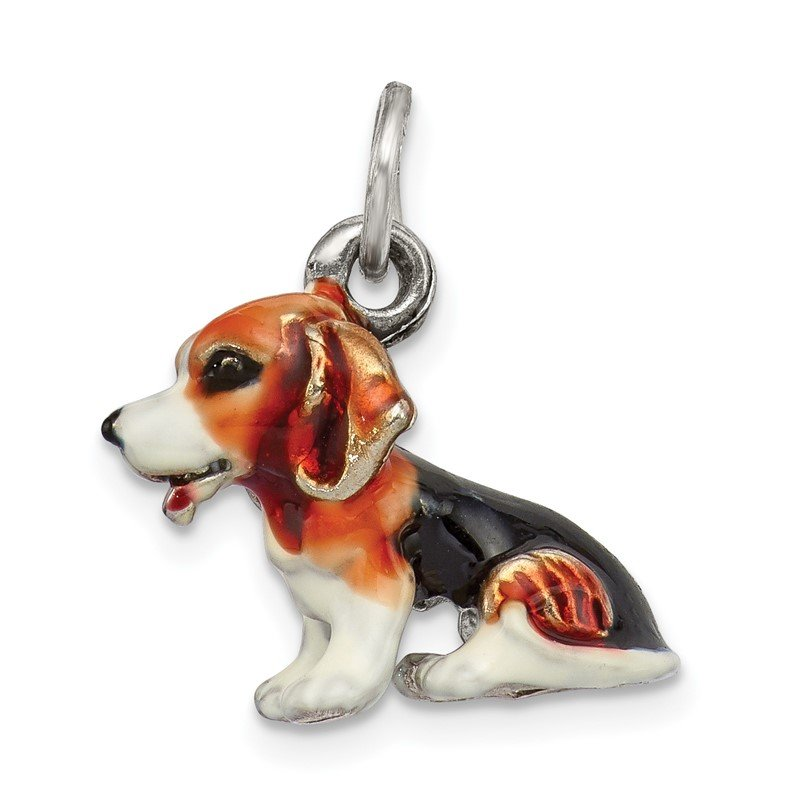 Quality Gold Sterling Silver Enameled Small Beagle Charm