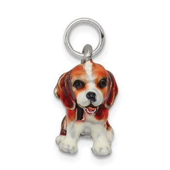 Sterling Silver Enameled Small Beagle Charm