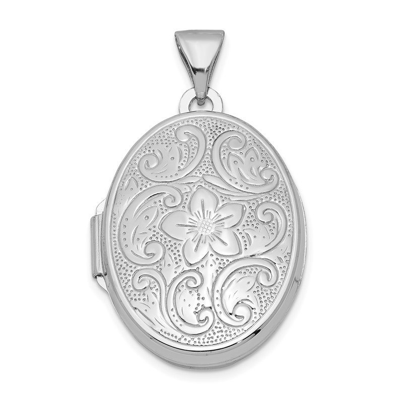 Quality Gold Sterling Silver Rhodium-plated Oval Floral Locket