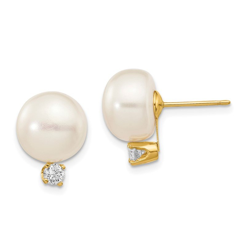 Quality Gold 14k 10-11mm White Button FW Cultured Pearl .2ct Diamond Post Earrings