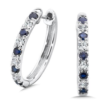 Pave set Diamond Oval Reflection Hoops in 14k White Gold (3/4 ct. tw.) GH/SI1-SI2