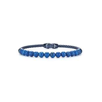 Single Row Blueberry Cable & Blue Lapis Bracelet