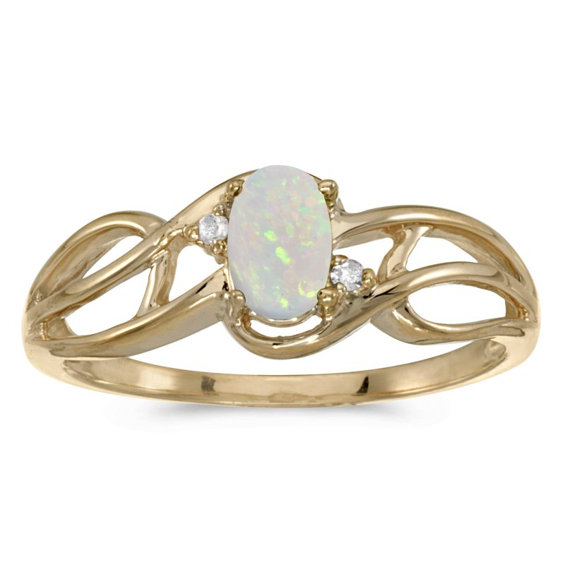 Color Merchants 14k Yellow Gold Oval Opal And Diamond Curve Ring