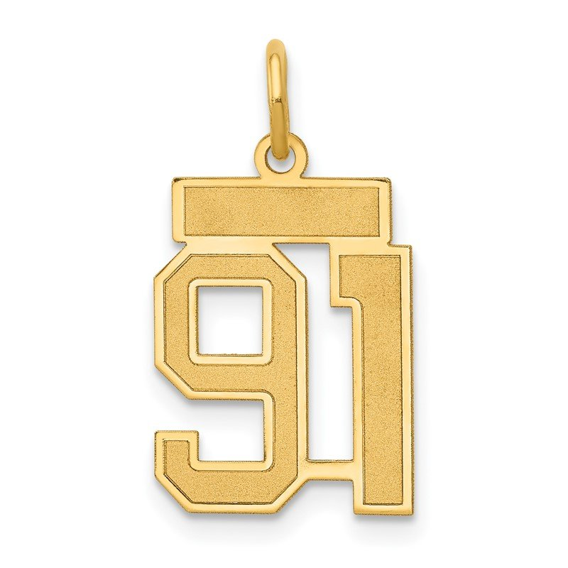 Quality Gold 14k Small Satin Number 91 Charm
