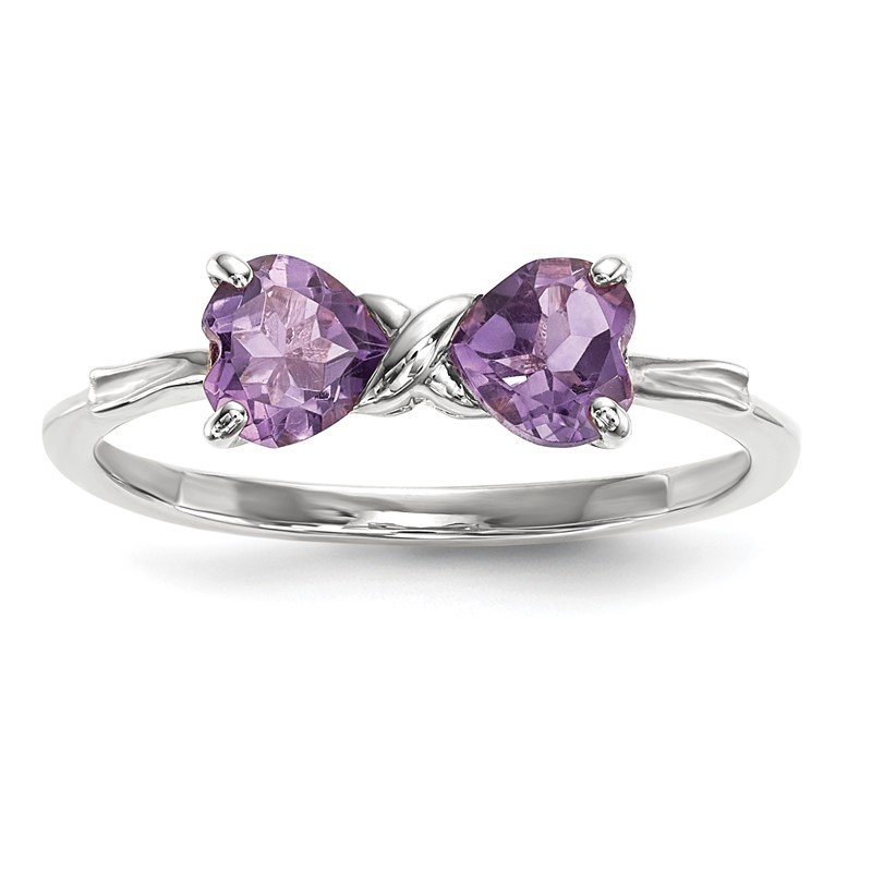 Quality Gold 14k White Gold Polished Amethyst Bow Ring