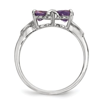 14k White Gold Polished Amethyst Bow Ring