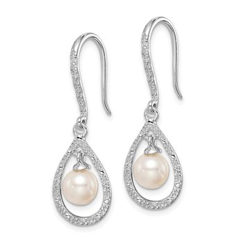 Sterling Silver Rhod Plated Dia. and FW Cultured Pearl Dangle Ear