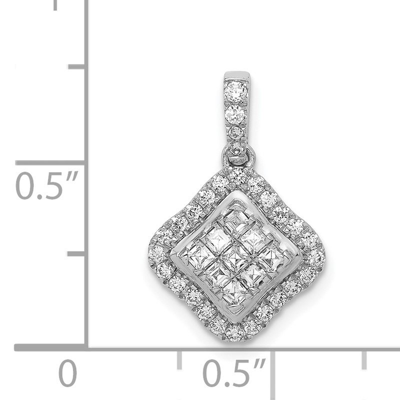 Quality Gold 14k White Gold 1/4ct. Diamond Cluster Pendant