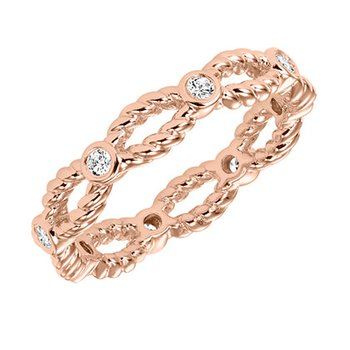 14k Rose Gold Twist Eternity Wedding Band