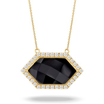 Gatsby Hexagon Onyx Halo Necklace