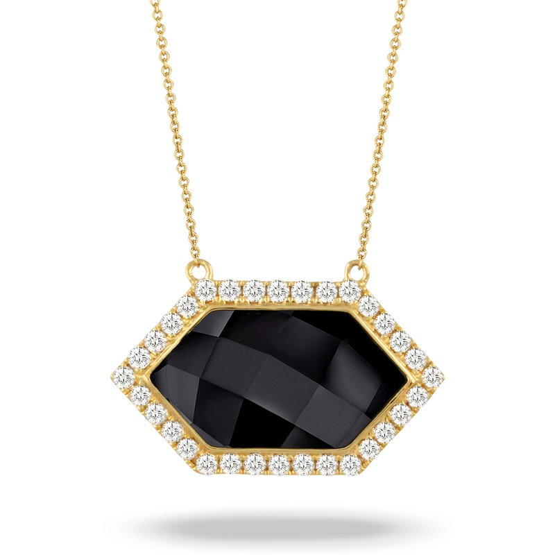 Doves Gatsby Hexagon Onyx Halo Necklace